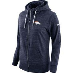 Nike Denver Broncos Women's Navy Tailgate Vintage Full-Zip Hoodie