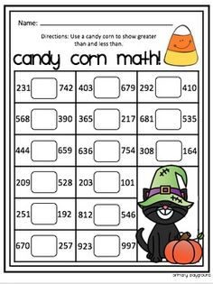 Candy Corn Math Greater or Less Than Freebie! by Primary Playground Fun Math, Math Games, Math Activities, Maths, Candy Corn, Thanksgiving Math, Christmas Math, Halloween Math, Halloween Activities