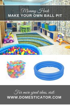 Make your own homemade ball-pit using a blow-up kiddie pool and plastic balls for hours of fun! Super easy and super affordable!