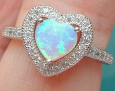 Sz 5, Heart Shaped, Pink Opal, Sterling Silver, Opal Ring, Sparkling CZ Halo,Sweetheart Gift, Promise Ring