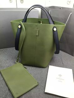 2016 Spring Mulberry Kite Tote Bag in Khaki & Midnight Flat Calf Leather