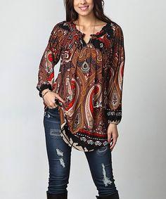 9720f9a2e Black & Red Paisley Notch Neck Tunic - Plus #zulily #zulilyfinds Plus  Size