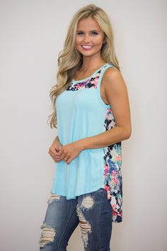 Summer Of Love Floral Tank Aqua - The Pink Lily