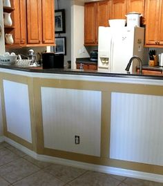 No Minimalist Here: How To Install Bead Board Wallpaper And Board And Batten. #kitchen island, #bead board, #bead board wallpaper