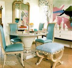 Quadrille, Melinda in French blue, aqua, Eclectic, dining room, leather, stools, chairs