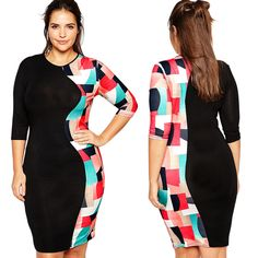 Women 3 4 Sleeve Color Block Bandage Party Cocktail Bodycon Mini Dress Plus Size Summer Dresses Online, Party Dresses Online, Evening Dresses Plus Size, Plus Size Dresses, Empire, Half Sleeve Dresses, Online Dress Shopping, Couture Dresses, Cheap Dresses
