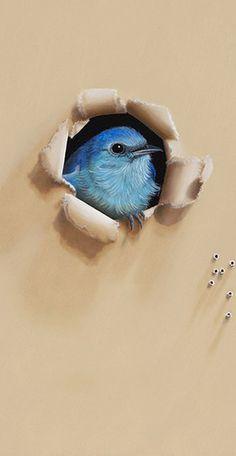Mountain Bluebird, A Backyard Bird Oil Painting by Camille Engel - Backyard Bird Oil Paintings by Camille Engel - Gallery - Whatbird Communi. Art Mural, Wall Murals, Wall Art, Backyard Birds, Bird Art, Art Techniques, Blue Bird, Painting & Drawing, Street Art