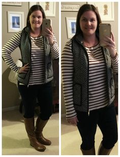 What I Wear: Mom Style #11- elbow patch stripe tee & tweed herringbone vest