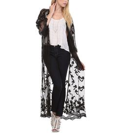 Another great find on #zulily! Black Sheer Lace Duster #zulilyfinds