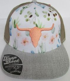 Manufacturer: Farm GirlStyle Description: Gray, White, and Tan Tan Mesh Back Polyester Adjustable Closure Cactus and Floral Background Peach Steer Head on Front Made in China Country Girl Style, Country Fashion, Country Girls, My Style, Country Hats, Country Outfits, Country Wear, Cowgirl Outfits, Cowgirl Style