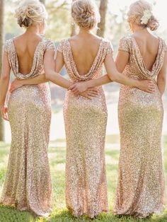 Backless Sequined Maxi Champagne Dress!!