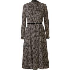 Ballroom Dancing Midi Dress ❤ liked on Polyvore featuring dresses, slimming dresses, full skirt, brown long sleeve dress, long sleeve midi dress and full midi skirt