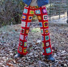 Fun and Funky Winter Yoga Crochet Pants Red Squares.  all I can say it wow!