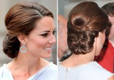 "Braided bunched up ""chignon"" updo Hairdo Wedding, Bridal Hair Updo, Bridal Hair And Makeup, Hair Makeup, Fancy Hairstyles, Bride Hairstyles, Kate Middleton Hair, Classic Updo, Hair Upstyles"