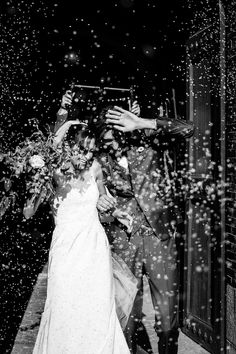 rice toss wedding exit black and white