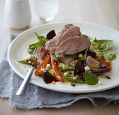 Warm lamb and roasted vegetable couscous salad ~ Chelsea Winter Roasted Vegetable Couscous, Couscous Salad, Roasted Vegetables, Vegetable Salad, Lamb Recipes, Salad Recipes, Cooking Recipes, Healthy Recipes, Quick Dinner Recipes