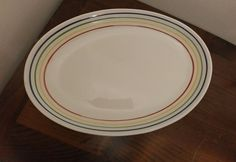 Ceraminter Italy The Source Pasta Platter Tray White w/Stripes #Ceraminter
