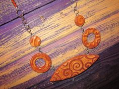 Faux Ceramic Polymer Clay Brown Necklace