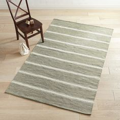 Wide-Striped Gray & Ivory 8x10 Rug