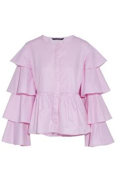 Ruffled pink striped blouse