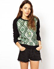 Maison Scotch Sweatshirt with Woven Jaquard Panel