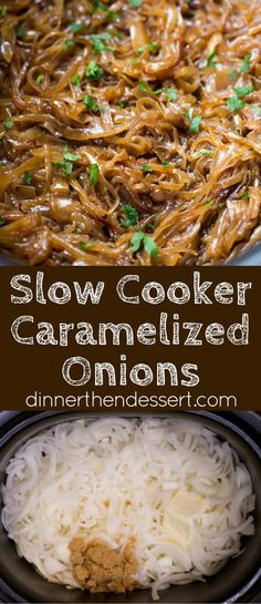 Slow Cooker Caramelized Onions with no babysitting a pan and constantly stirring! Just onions, butter and brown sugar cook until meltingly sweet.