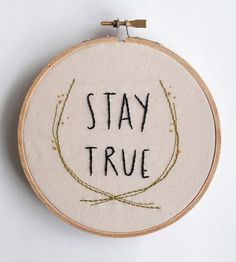 simple embroidery wall art // embroidered quote with herb motif