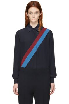 Stella McCartney - Navy Silk Striped Shirt