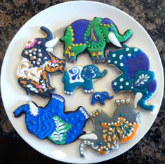 Vanilla and Chocolate Sugar cookies, flood icing, sanding sugar, dragees
