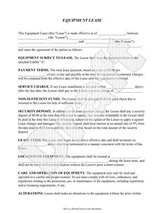Equipment Lease Agreement Template   Lease For Equipment Form   Equipment  Leasing Agreement