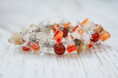 Fire and Ice - carneol and rutile quartz gemstone crystal bracelet - feminine, trendy, beautiful and powerful Fire And Ice, Crystal Bracelets, New Model, Quartz, Feminine, Jewellery, Gemstones, Crystals, Unique Jewelry