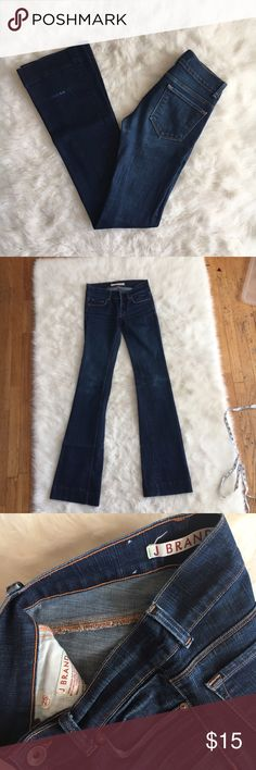 "J Brand ""Heartbreaker"" Flare Jeans Dark wash J Brand ""Heartbreaker"" Flare Jeans. Easy to dress up or down. Only major flaw is wear to the backs of both legs. The inseam is 35"" so they could be hemmed to get rid of the damage. J Brand Jeans Flare & Wide Leg"