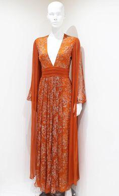 Thea Porter Couture silk chiffon evening dress, c. early 1970s 7