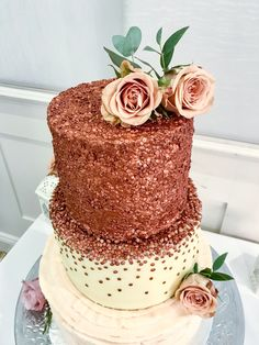 Copper Bronze Gold Waterfall ‭Sequin Three Tier Wedding Cake with peach roses