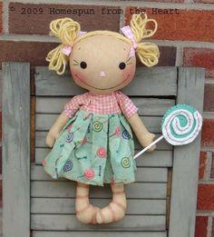 Raggedy Ann Doll pattern Lulu and her Lollipop, raggedy doll pattern, wool softie lollipop, PRINTED PATTERN, Doll Sewing Patterns, Sewing Dolls, Crochet Doll Pattern, Tilda Toy, Fabric Dolls, Rag Dolls, Plush Dolls, Ann Doll, Raggedy Ann