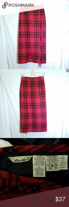EDDIE BAUER Vintage Red Tartan Plaid Long Skirt Classic tartan plaid long skirt by Eddie Bauer. Wraparound style. Fringed.  Shell 85/15 wool/nylon Lining 100 polyester Waist 14 Length 34 Size 8 Excellent condition Eddie Bauer Skirts Maxi
