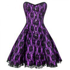 Gothic Purple Black Steel Boned Lace Corset Dress