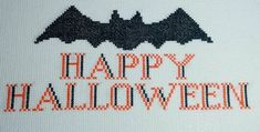 """""""Happy Halloween Bat"""" counted cross-stitch pattern by Craft with Cartwright. Halloween Patterns, Halloween Bats, Happy Halloween, Halloween Decorations, Dragon Cross Stitch, Cross Stitch Heart, Easy Perler Bead Patterns, Cross Stitch Patterns, Name Crafts"""