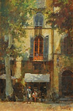 "Cafe in Piazza Napoleone by James Crandall Oil ~ 36"" x 24"""