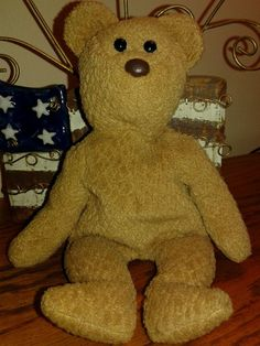 CURLY TY BEANIE Babies retired Bear 1993 PVC no ribbon or hang tag #Ty