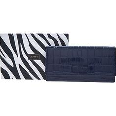 Osprey London Navy Leather Croc Print Flap Purse Osprey London, Crocs, Continental Wallet, Xmas, Purses, Navy, Leather, Women, Fashion