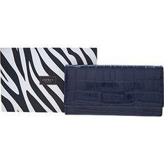Osprey London Navy Leather Croc Print Flap Purse