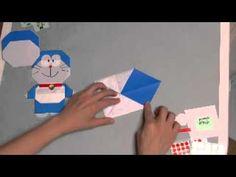 origami かんたん、かわいいおりがみ - DORAEMON  YouTube - CABEÇA E CORPO