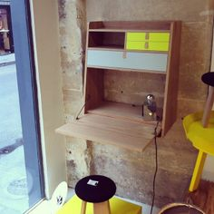 Spotted. The wall secretary desk Gaston at @think and More (Paris) http://www.hartodesign.fr/secretaire-mural-gaston-gris-jaune.html
