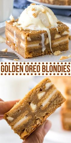 Take your blondies to the next level by stuffing them with Golden Oreos! These easy bars are chewy, soft, easy to make, and completely decadent from Just So Tasty Recipes for 1 Golden Oreo Blondies Tiramisu Dessert, Dessert Bars, Yummy Treats, Sweet Treats, Yummy Food, Yummy Drinks, Food For A Crowd, Snacks, Brownie Recipes