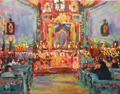 El Santurio de Chimayo, Southwest Art, original painting, Catholic shrine, Russ Potak by PotakPaintsArt on Etsy