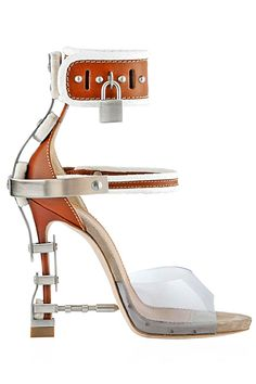 ccfc2878b4 Dsquared2 Brown & White Technic Detail Lock Sandal Fall Winter 2014 #Shoes  #Heels Zapatos