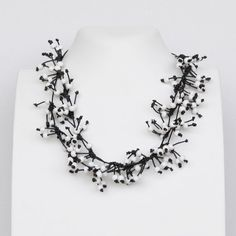 Long necklace Black and white necklace Statement by Cardoucci