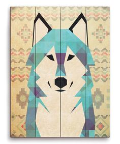 Another great find on #zulily! Geometric Wolf Wall Art #zulilyfinds