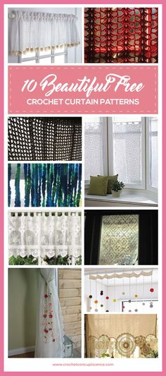 I love the idea of crochet curtains so I thought I'd do a quick roundup of some of the best free crochet curtain patterns online. Sewing Patterns Free, Free Pattern, Crochet Patterns, Crochet Borders, Crochet Squares, Stitch Patterns, No Sew Curtains, Crochet Curtains, Window Curtains